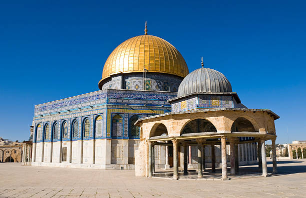 Dome of the Rock Dome of the Rock and blue sky in the Old City of Jerusalem dome of the rock stock pictures, royalty-free photos & images