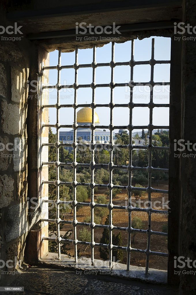Dome of the Rock through a window royalty-free stock photo