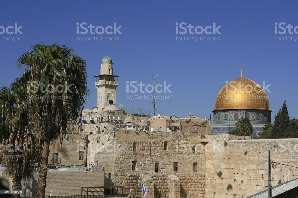 Dome of the Rock and wailing wall, Jerusalem Old city. royalty-free stock photo