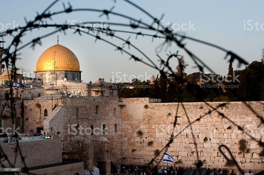 Dome of the Rock and Western Wall Through Barbed Wire royalty-free stock photo
