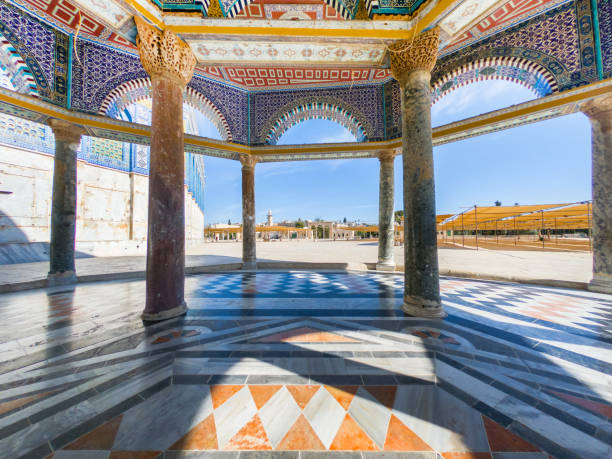 Dome of the Rock architectural details, Jerusalem Architectural details, colorful ceramic, mosaic tiles at Dome of the Rock, Temple Mount, the third holiest place for Islam. Jerusalem, Israel dome of the rock stock pictures, royalty-free photos & images