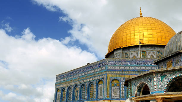 Dome of the Rock in Jerusalem over Temple Mount Dome of the Rock in Jerusalem over the Temple Mount. Golden Dome is the most known mosque and landmark in Jerusalem and sacred place for all muslims. dome of the rock stock pictures, royalty-free photos & images