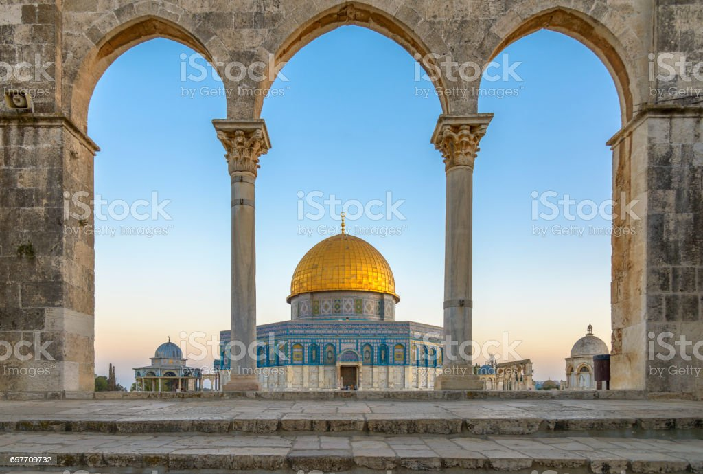 Dome of the Rock in Jerusalem The Dome of the Rock (Qubbet el-Sakhra) is one of the greatest of Islamic monuments, it was built by Abd el-Malik, Jerusalem, Israel Ancient Stock Photo