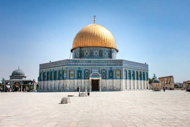 Dome of the Rock - Jerusalem, Israel Wide exterior shot of the Dome of the Rock in Jerusalem's Old City - Jerusalem, Israel dome of the rock stock pictures, royalty-free photos & images