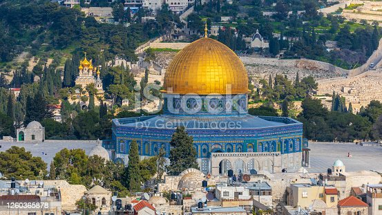 Dome of the Rock Mosque and Christian Churches on Mount of Olives in Jerusalem
