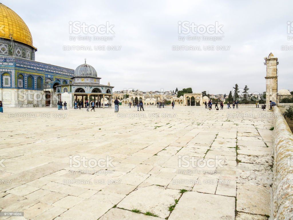 Dome of the Rock Mosque and Dome of the Chain on the Temple Mount in Jerusalem stock photo