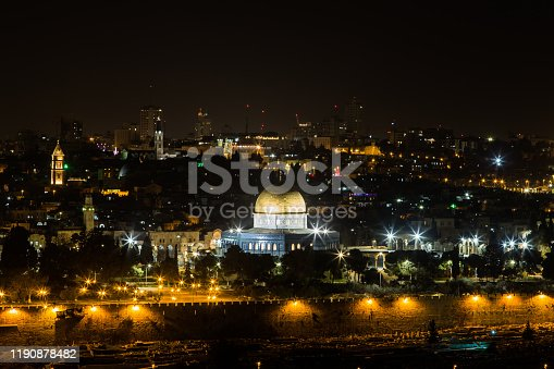 Cityscape of the Old City of Jerusalem at the evening.