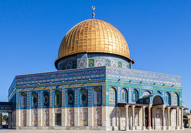 Dome of the Rock on the Temple Mount in Jerusalem The Dome of the Rock on the Temple Mount in the Old City of Jerusalem. The most famous landmark in Jerusalem. dome of the rock stock pictures, royalty-free photos & images