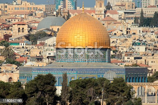 Dome of the Rock, the gold-topped Islamic shrine in Jerusalem, Israel