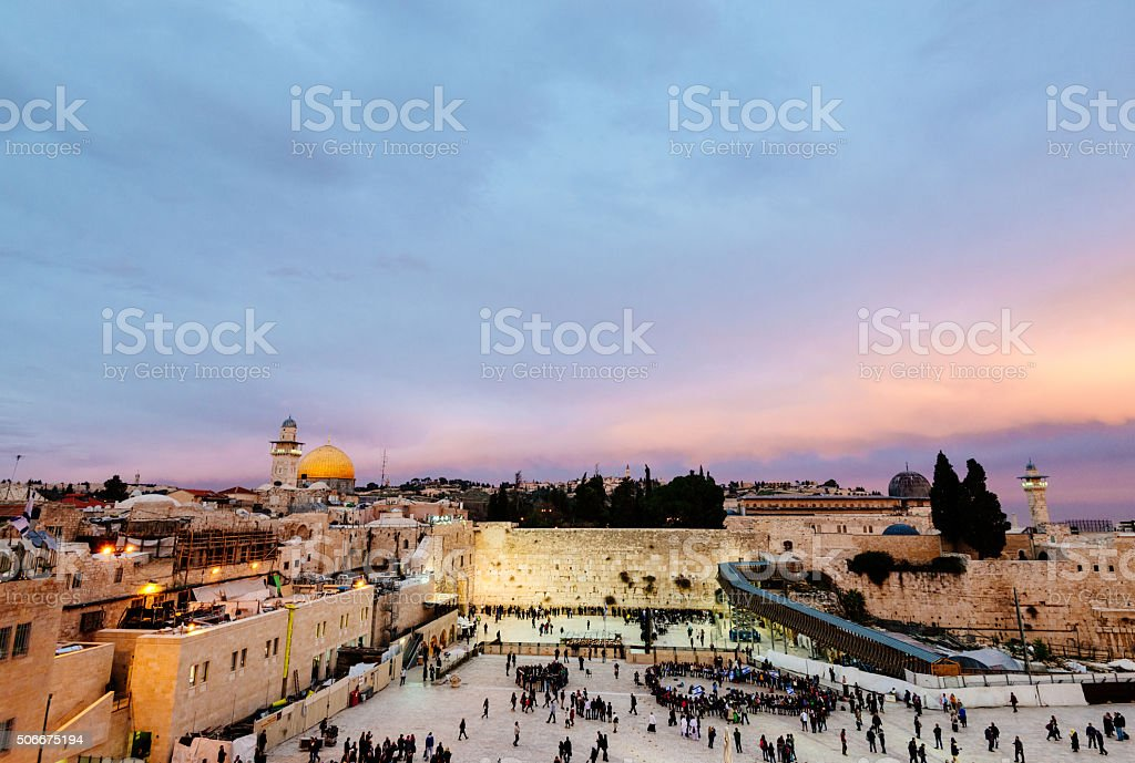 Dome of the Rock, Wailing Wall Jerusalem, Israel stock photo