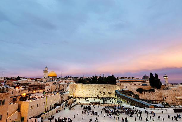 dome of the rock, der klagemauer von jerusalem, israel - jerusalem stock-fotos und bilder