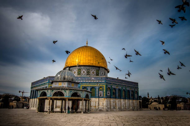 Dome of the Rock with birds flying in Jerusalem A dramatic shot of the Dome of the Rock, Jerusalem al aqsa stock pictures, royalty-free photos & images
