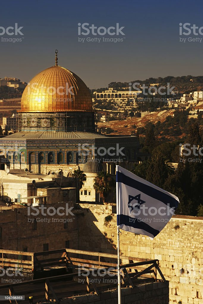 Dome of the rock with israeli flag on foreground royalty-free stock photo