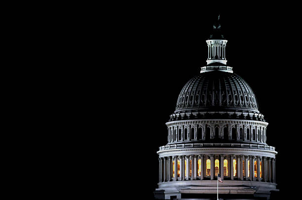Dome of the U.S. Capitol by night stock photo