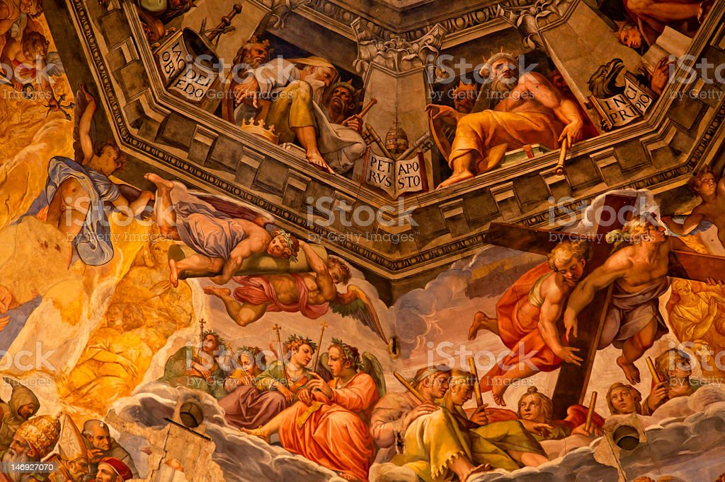Dome of the Vasari Fresco Duomo Cathedral in Florence, Italy stock photo