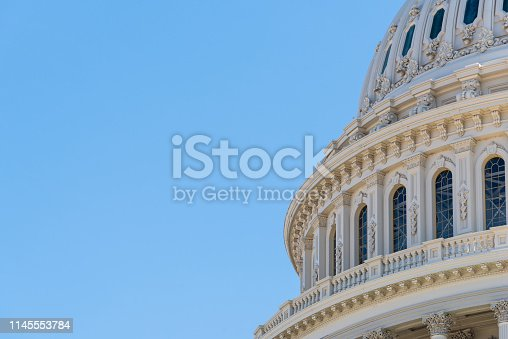 Cupola or dome of the US Capitol building in Washington DC, capital city of the United States of America
