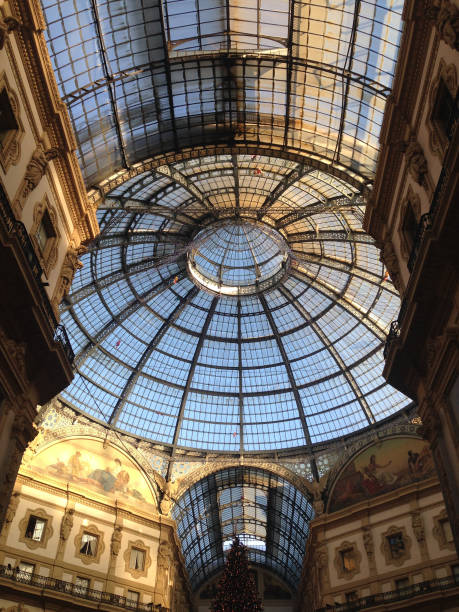 dome of vittorio emanuele gallery in the center of milan - cupola stock pictures, royalty-free photos & images