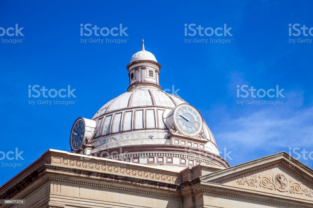 Dome on City Hall Building with Clock stock photo