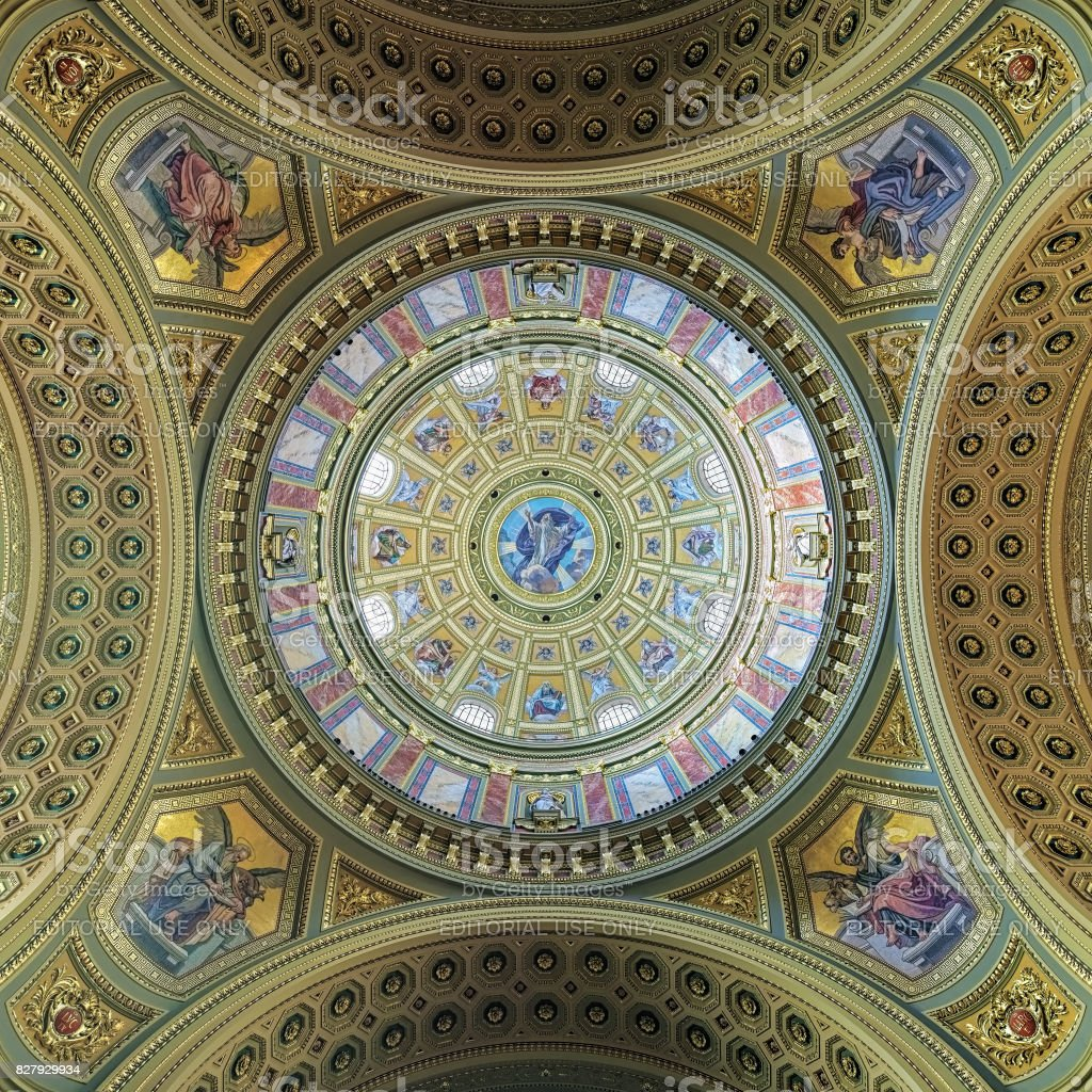 Dome painting of St. Stephen's Basilica in Budapest, Hungary stock photo