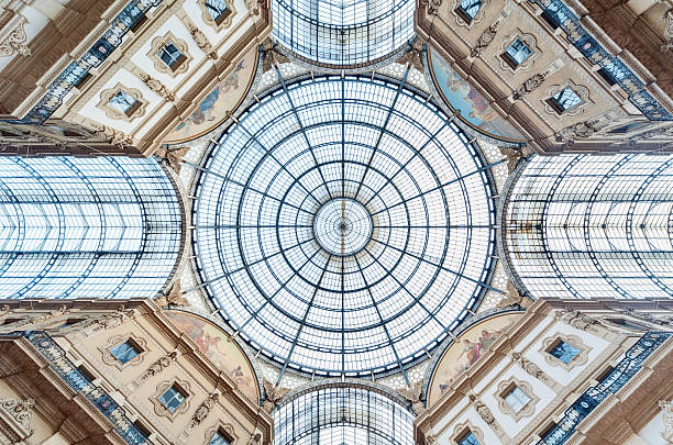 Dome Glass dome of Galleria Vittorio Emanuele in Milan, Italy cupola stock pictures, royalty-free photos & images
