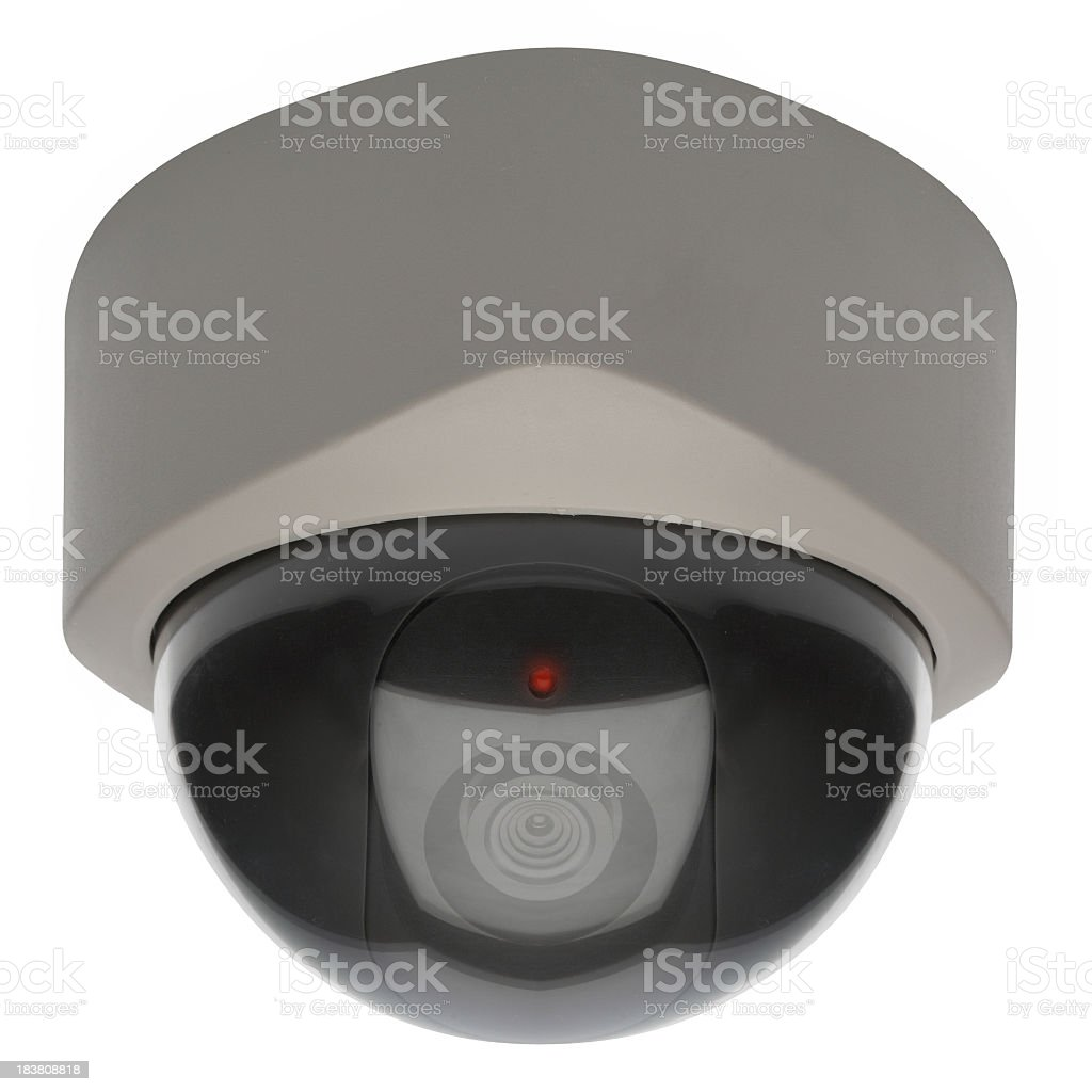 Dome security camera isolated on a white background royalty-free stock photo