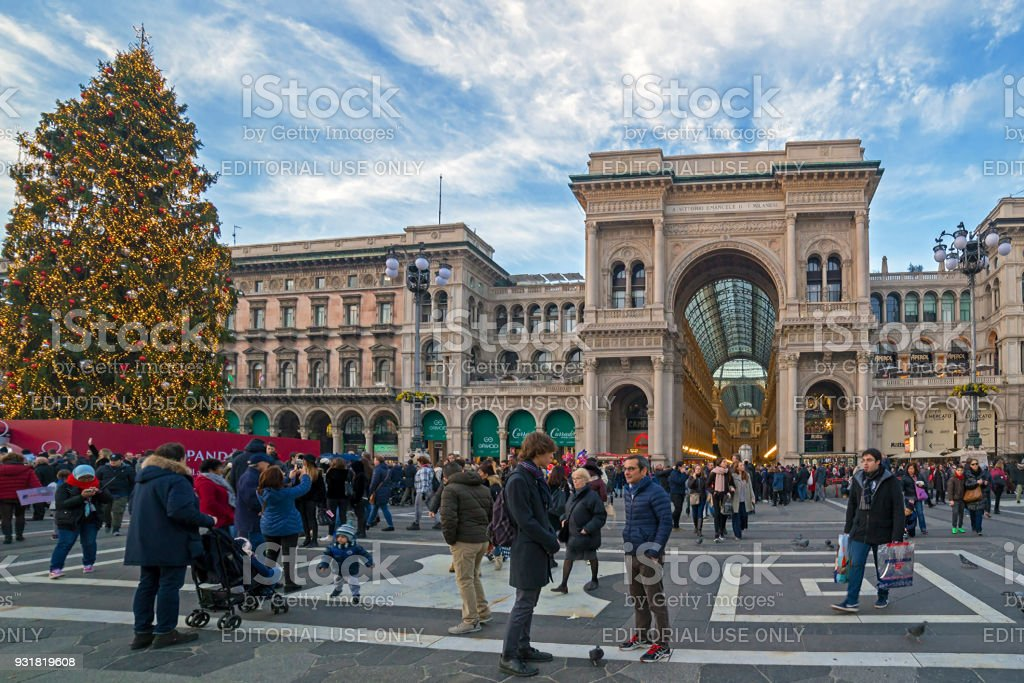 Dome Square in Milan, during Christmas time stock photo