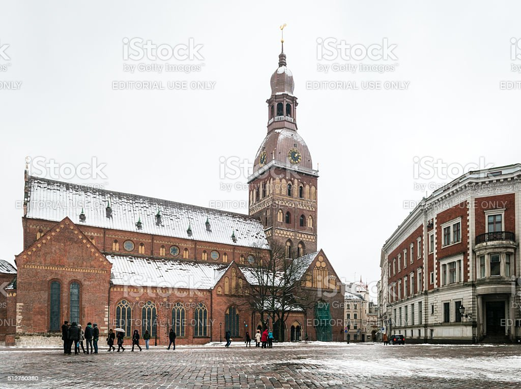 Dome Square with the Dome Cathedral in Riga, Latvia stock photo