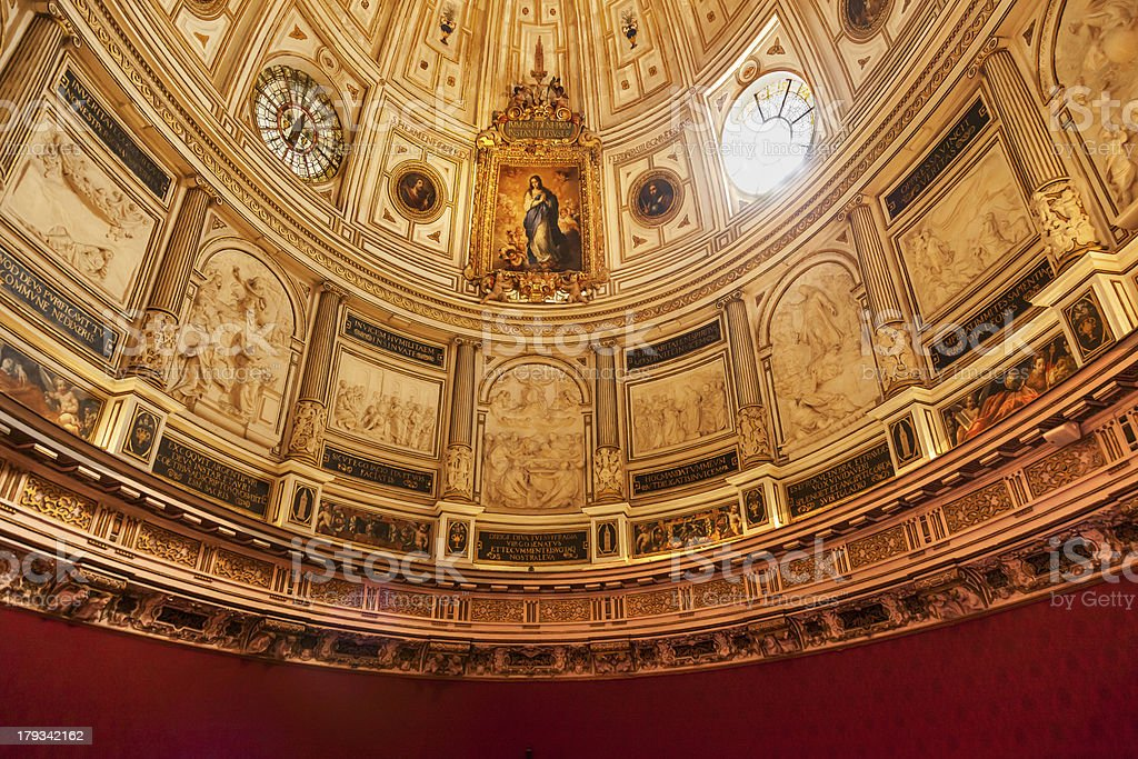 Dome Stained Glass Seville Cathedral Spain royalty-free stock photo