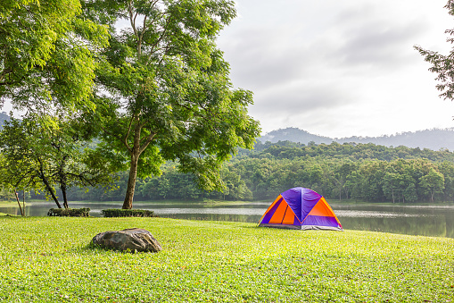 Dome Tent Camping At Lake Side Stock Photo - Download Image Now