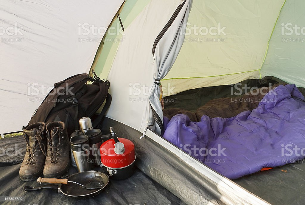Dome tent camping interior royalty-free stock photo