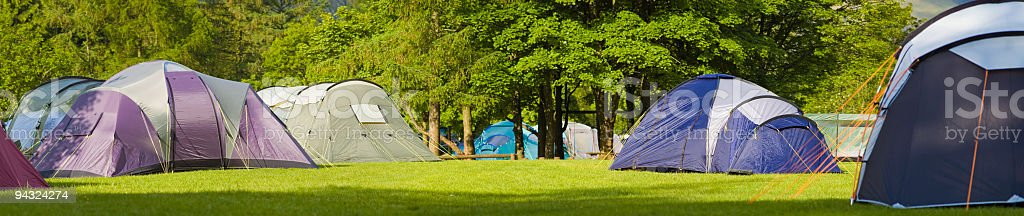 Dome tents on rural campsite royalty-free stock photo