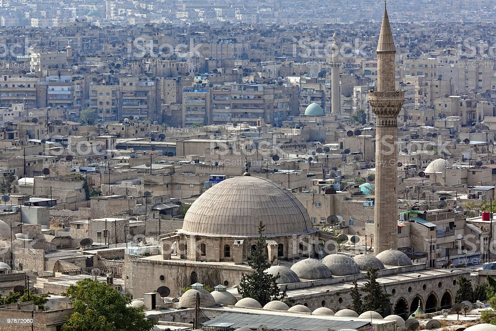 Domed buildings and spires in Aleppo, Syria stock photo