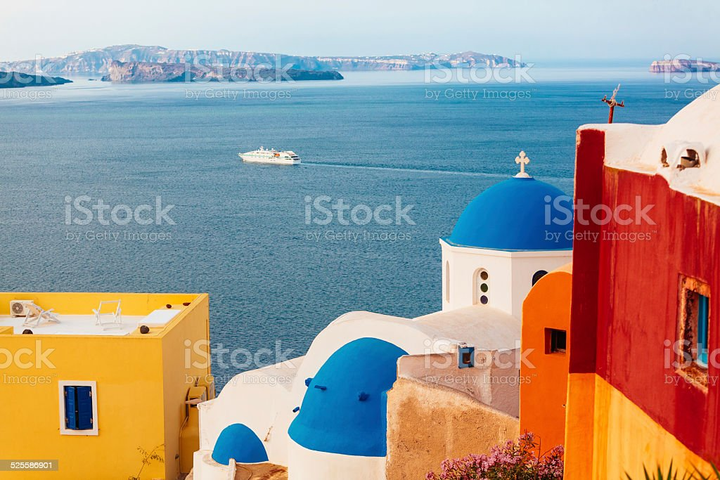 Domed church in Oia, Santorini, Greece royalty-free stock photo