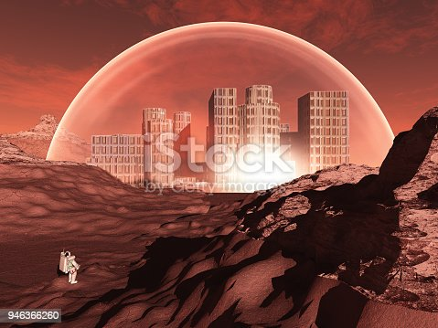 istock Domed city in inhospitable planet 946366260