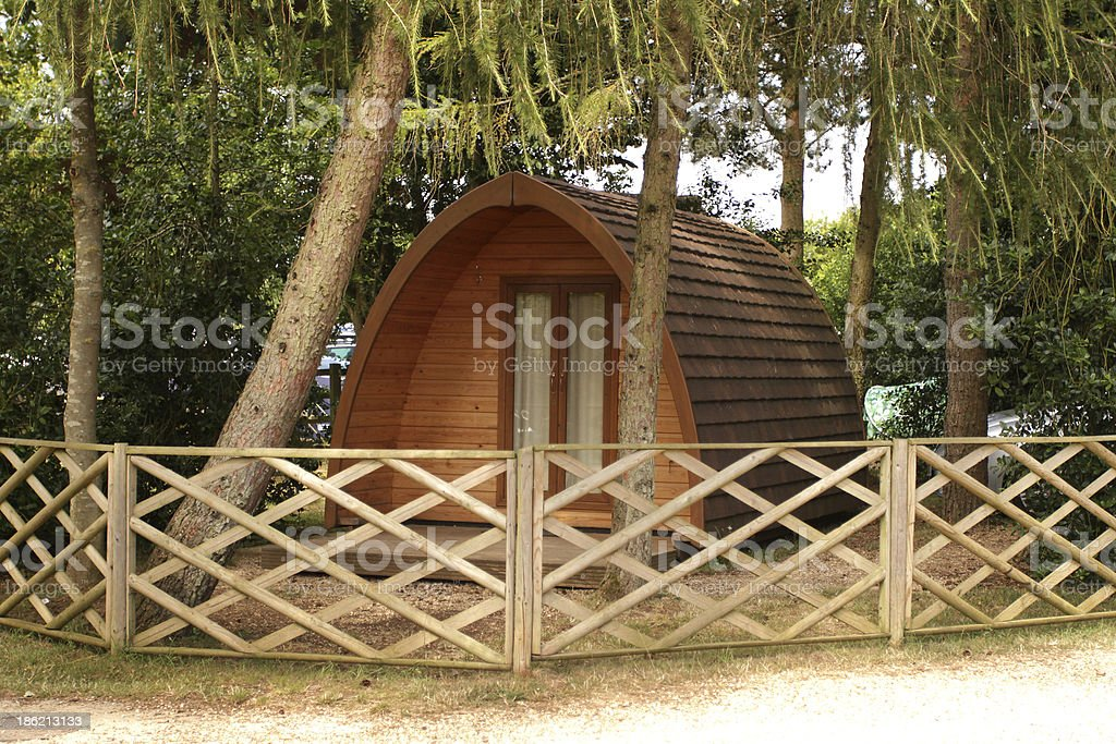 Domed wooden Cabin for camping. royalty-free stock photo