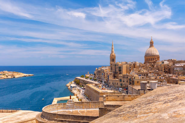 Domes and roofs of Valletta , Malta stock photo