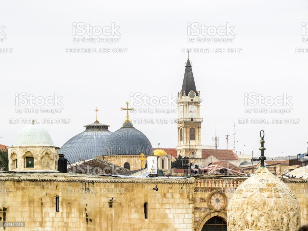 domes from the Temple Mount in the Old City of Jerusalem stock photo