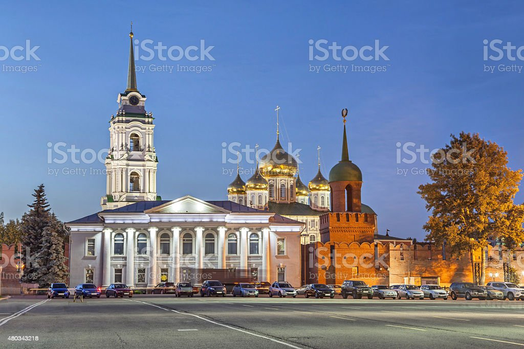 Domes of Assumption Cathedral in Tula, Russia stock photo