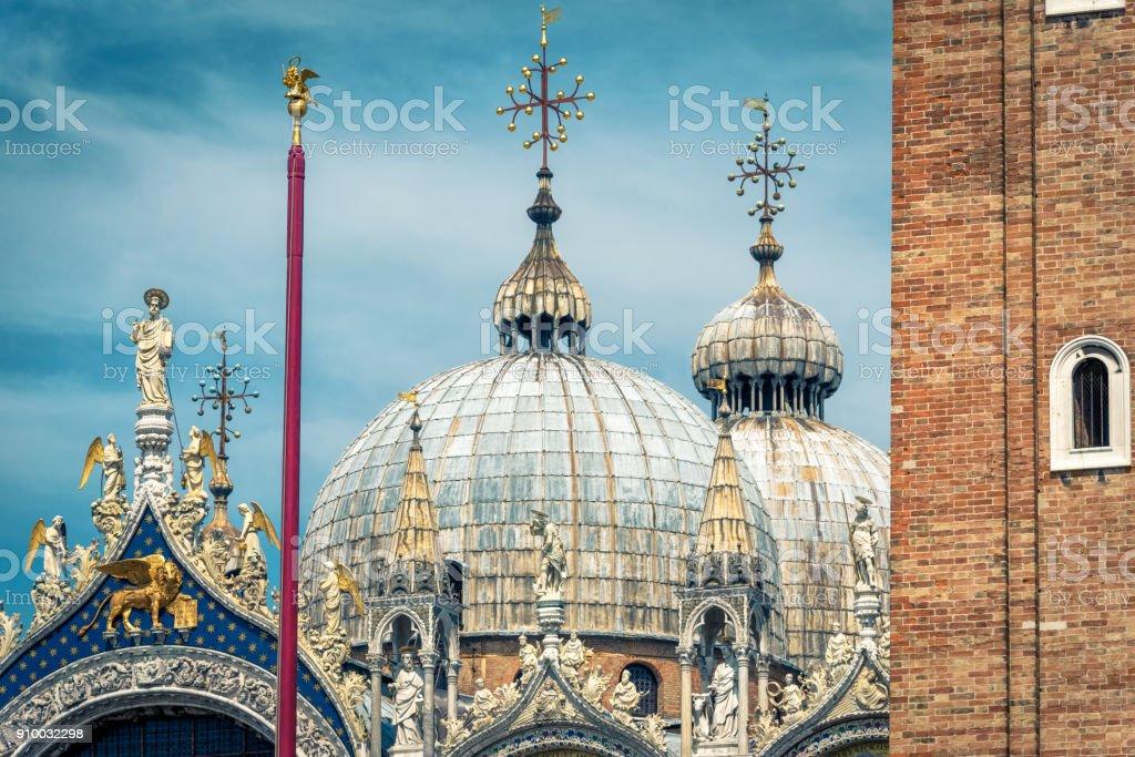 Domes of Basilica di San Marco in Venice, Italy stock photo