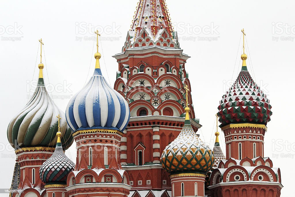 Domes of Saint Basils Cathedral in winter. royalty-free stock photo