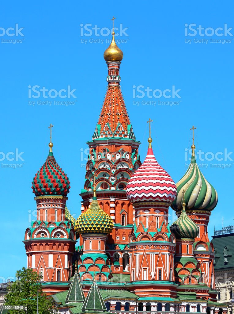 Domes of St. Basil's Cathedral in Moscow royalty-free stock photo