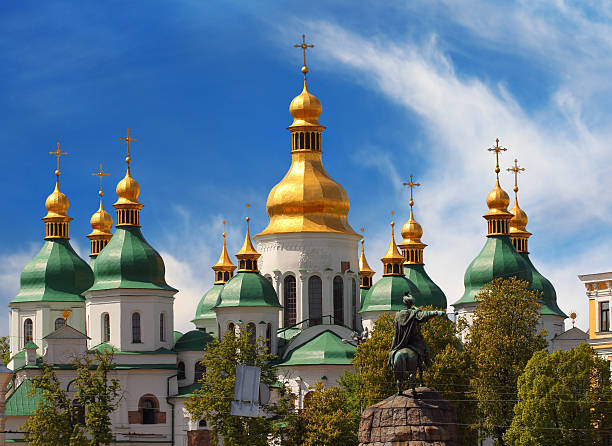 Domes of St Sophia Cathedral stock photo