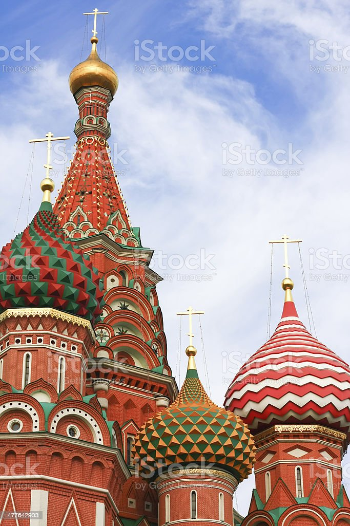 Domes of the famous Head St. Basil's Cathedral royalty-free stock photo