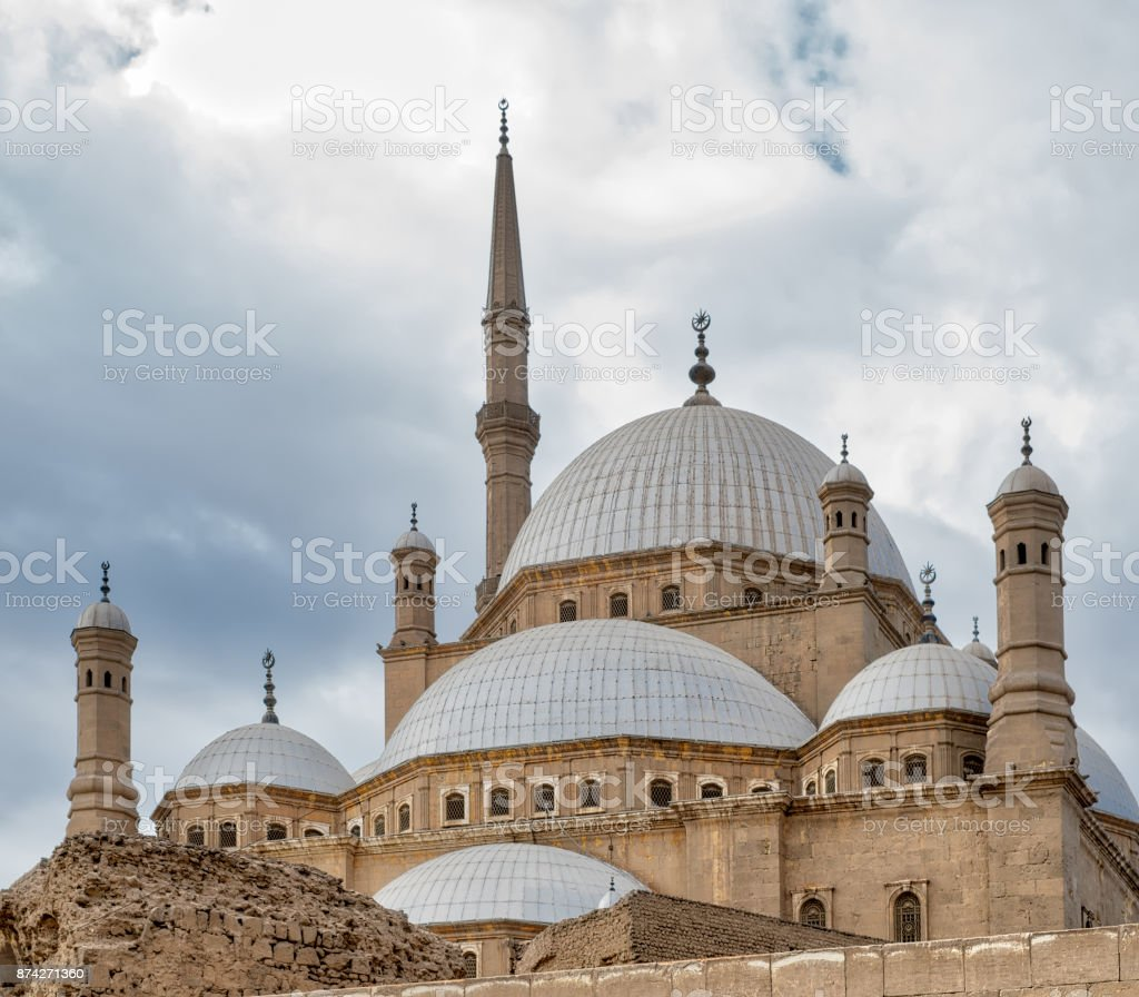 Domes of the great Mosque of Muhammad Ali Pasha (Alabaster Mosque), Citadel of Cairo, Egypt stock photo