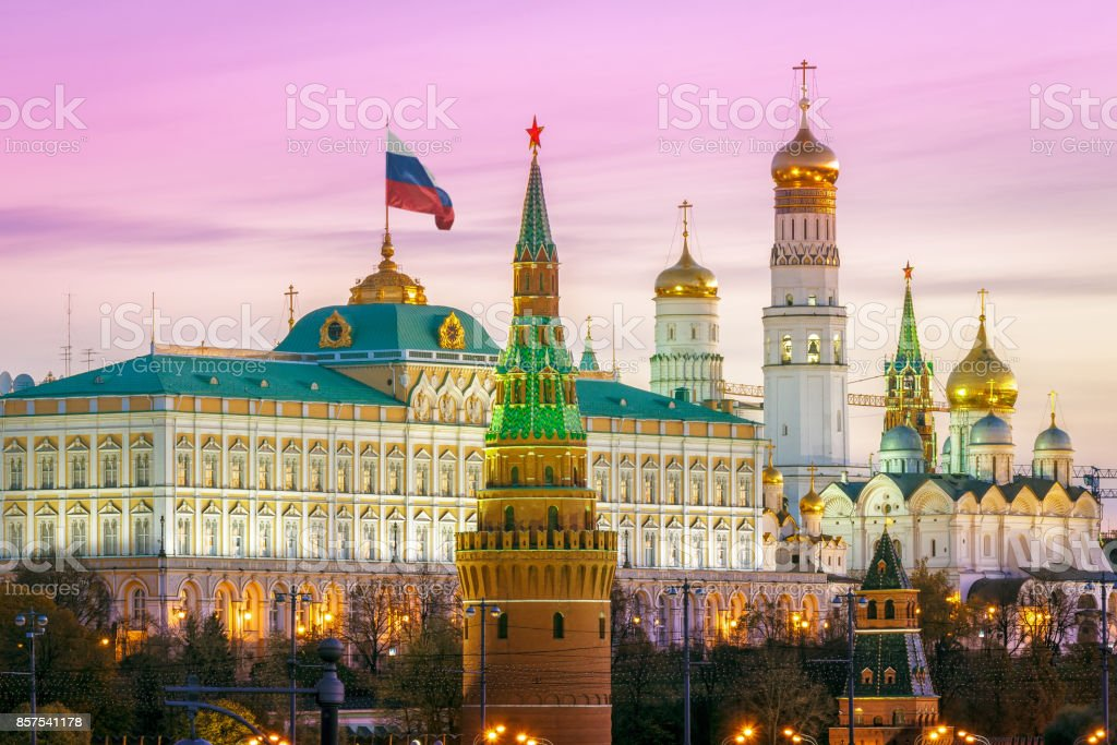 Domes of the Moscow Kremlin stock photo