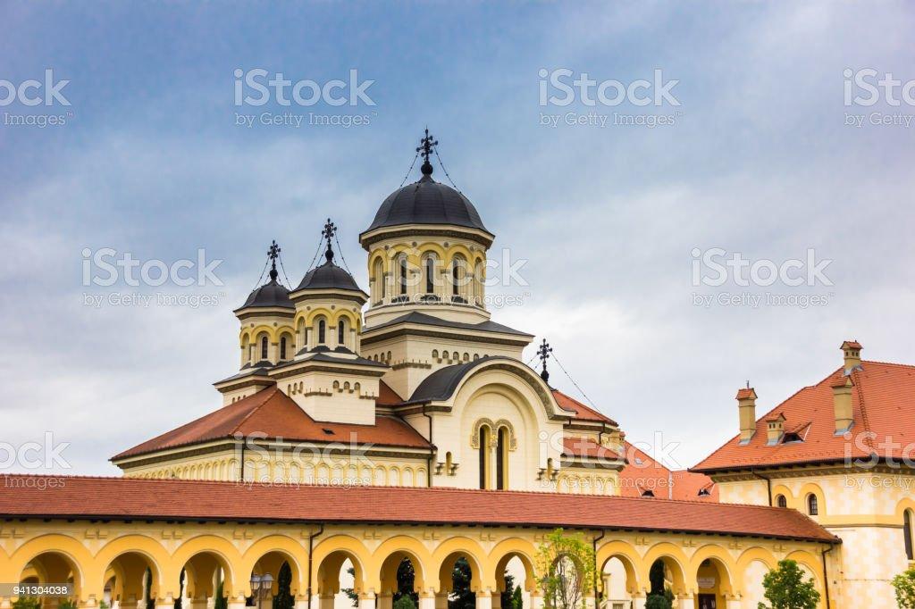 Domes of the orthodox cathedral in the citadel of Alba Iulia, Romania stock photo