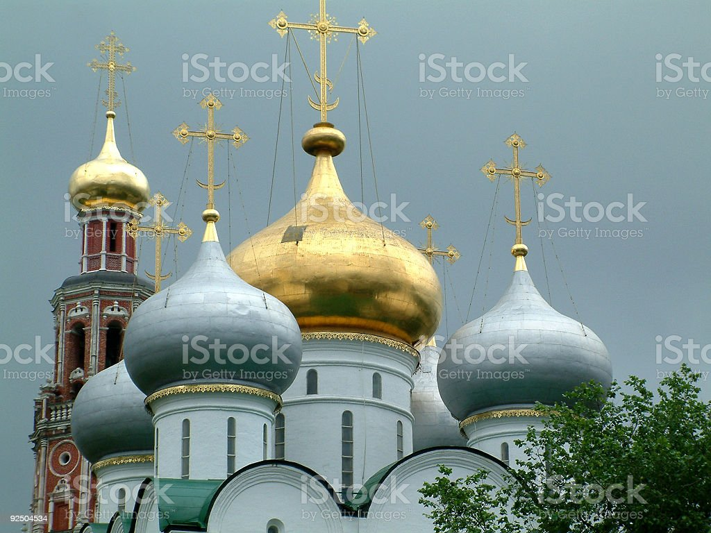 Domes of the Smolensky Cathedral,Novodevichy Convent,Moscow royalty-free stock photo