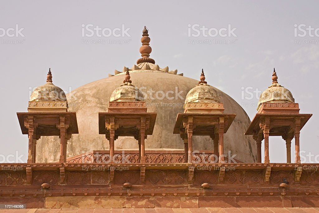 Domes on Moghul Fort, Delhi India royalty-free stock photo