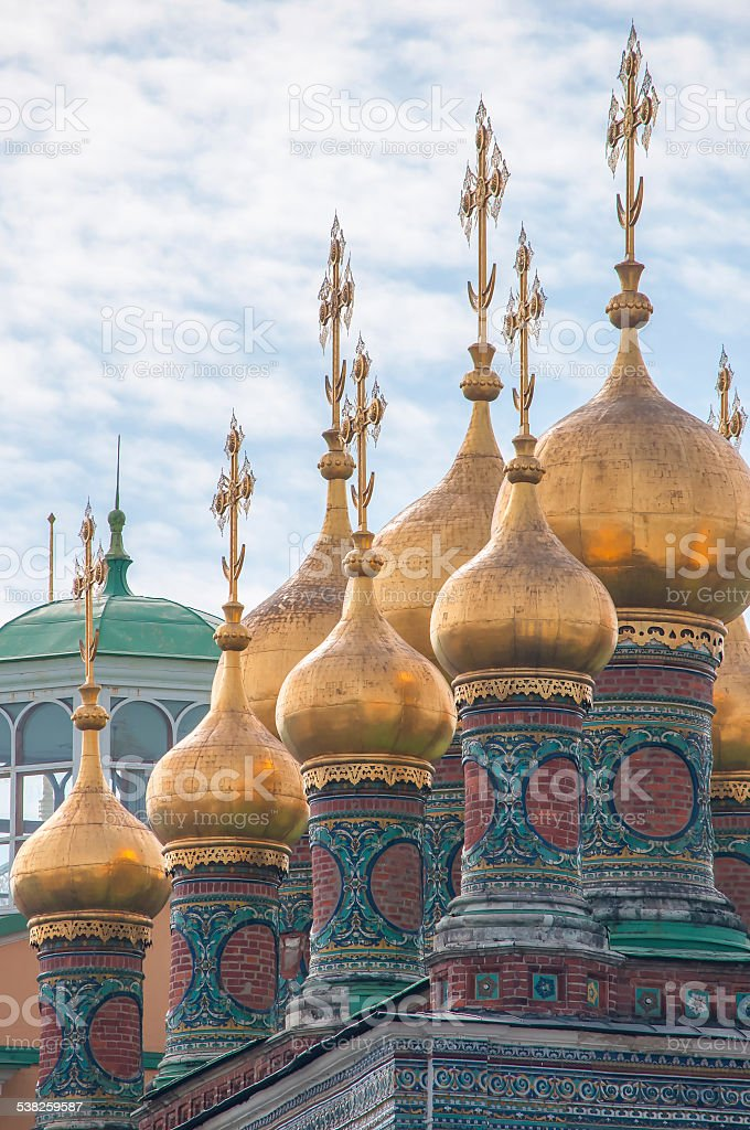 Domes Terem Palace Churches, Temple of Deposition Robe, Moscow Kremlin stock photo