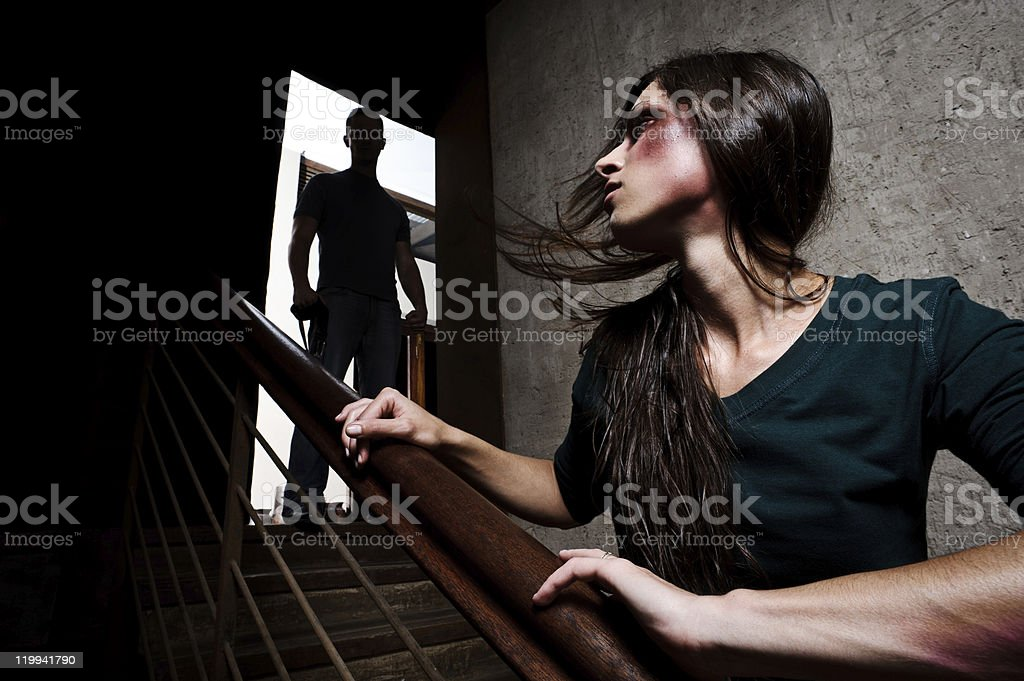 Domestic abuse, family and social issue stock photo